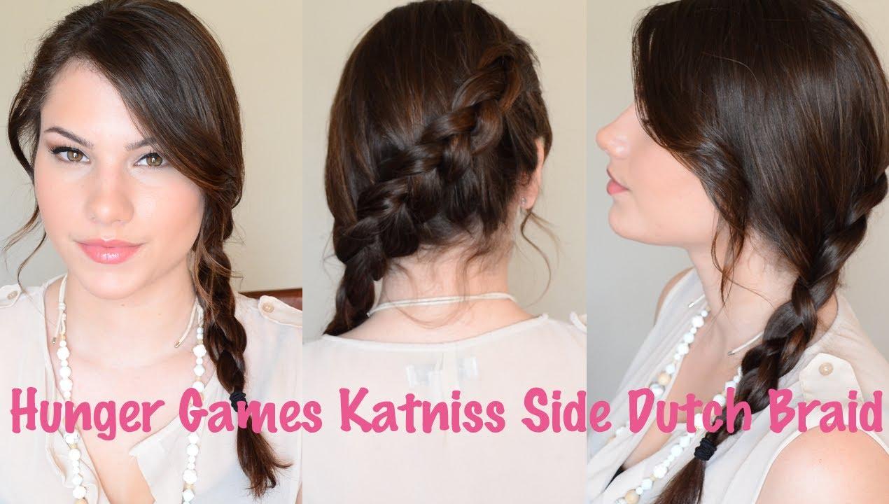 Hunger Games Katniss Side Dutch Braid Hair Tutorial - YouTube