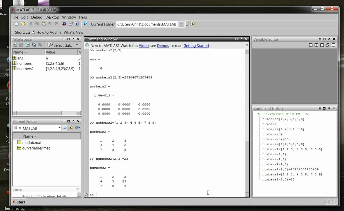 MATLAB Tutorial 4- MATLAB Vectors and Matrices