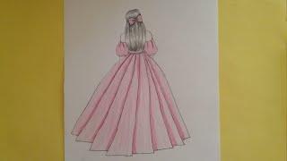 Prenses elbisesi çizimi /Kolay elbise nasil çizilir /how to draw princes