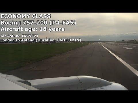 Air Astana Economy Class - London Heathrow Terminal 4 to Astana (KC942) - Boeing 757-200