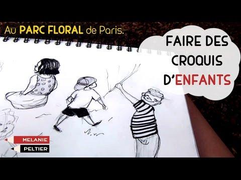 Comment faire des CROQUIS d'ENFANTS en MOUVEMENT. #Vlog Parc Floral