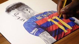 Neymar Jr Pen Drawing - FC Barca - DeMoose Art