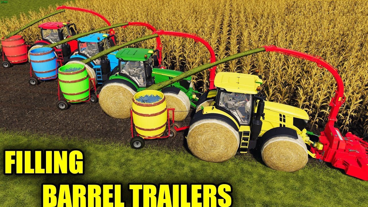 LORD OF SILAGE FARMERS ! SILAGE FILLING with COLORED BARREL TRAILERS ! Farming Simulator 19