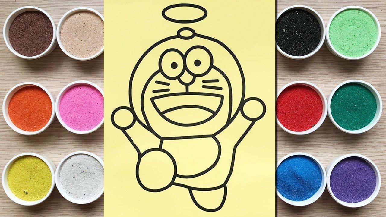 Đồ chơi trẻ em TÔ MÀU TRANH CÁT MÈO ĐÔRÊMON ĐANG BAY Sand painting Doraemon toys kids (Chim Xinh)