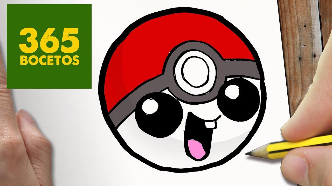COMO DIBUJAR POKEBALL KAWAII PASO A PASO , Dibujos kawaii faciles , How to  draw a Pokeball , YouTube