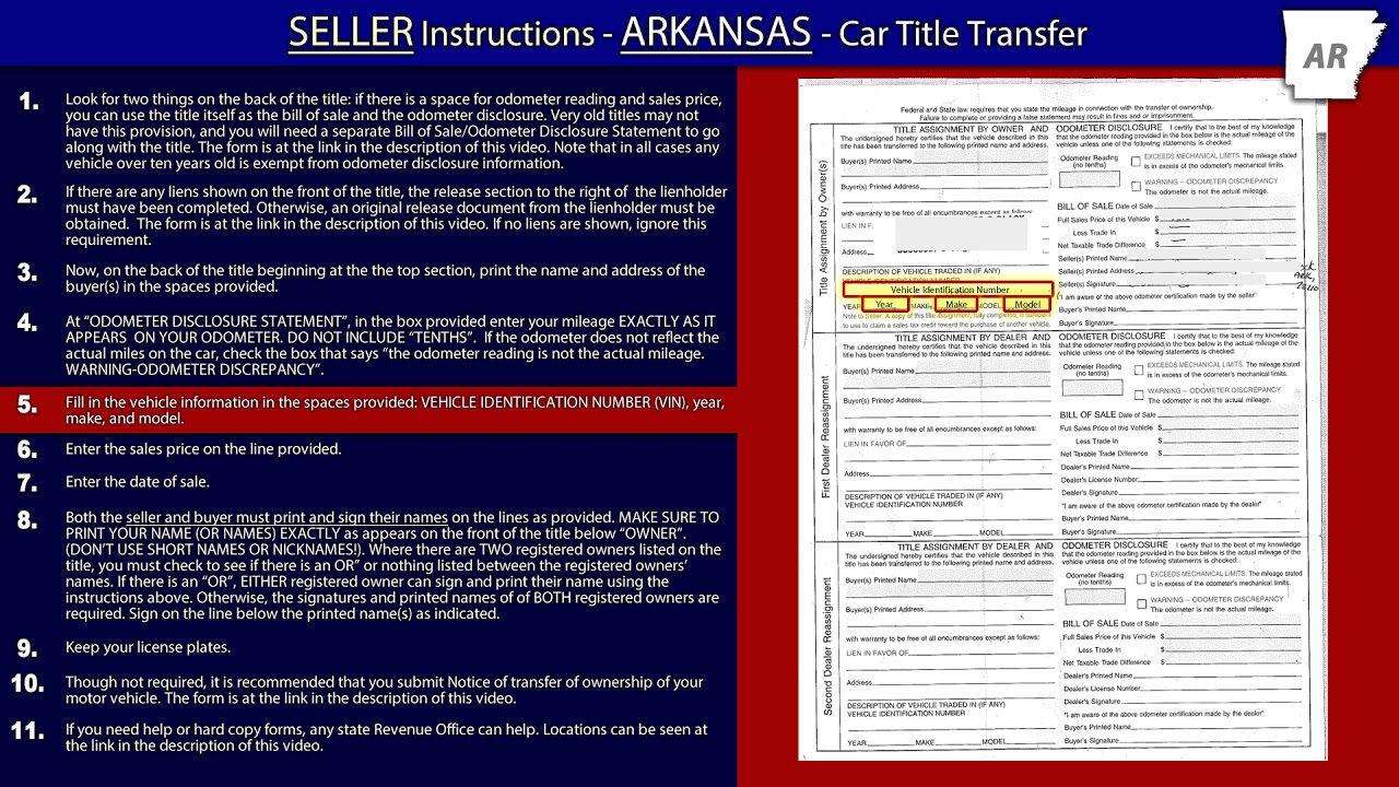 Title Transfer Instructions - Sell My Car Arkansas - YouTube