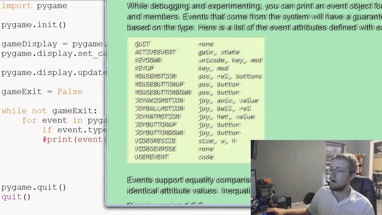 Pygame (Python Game Development) Tutorial - 4 - Quit Event Handling