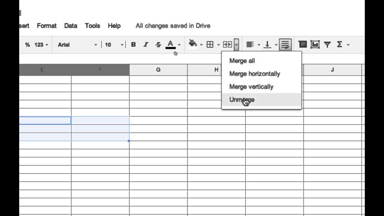 How To Merge Cells In Google Spreadsheets Youtube