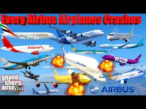 GTA V: Every Airbus Airplanes Best Extreme Longer Crash and Fail Compilation (60FPS)