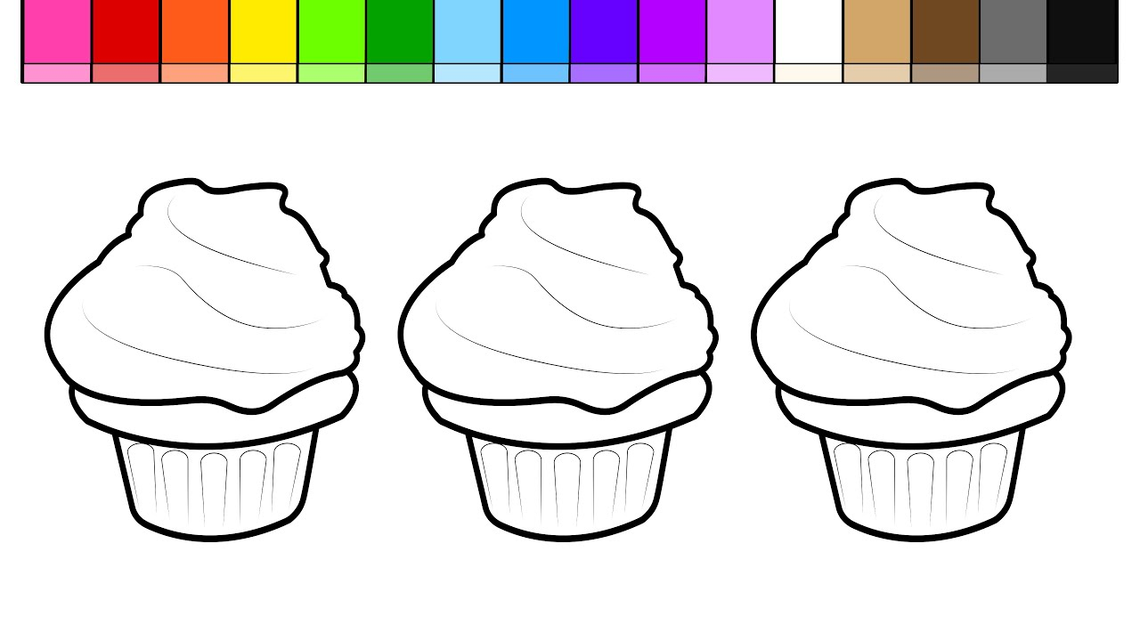 learn colors for kids and color and decorate cupcakes coloring