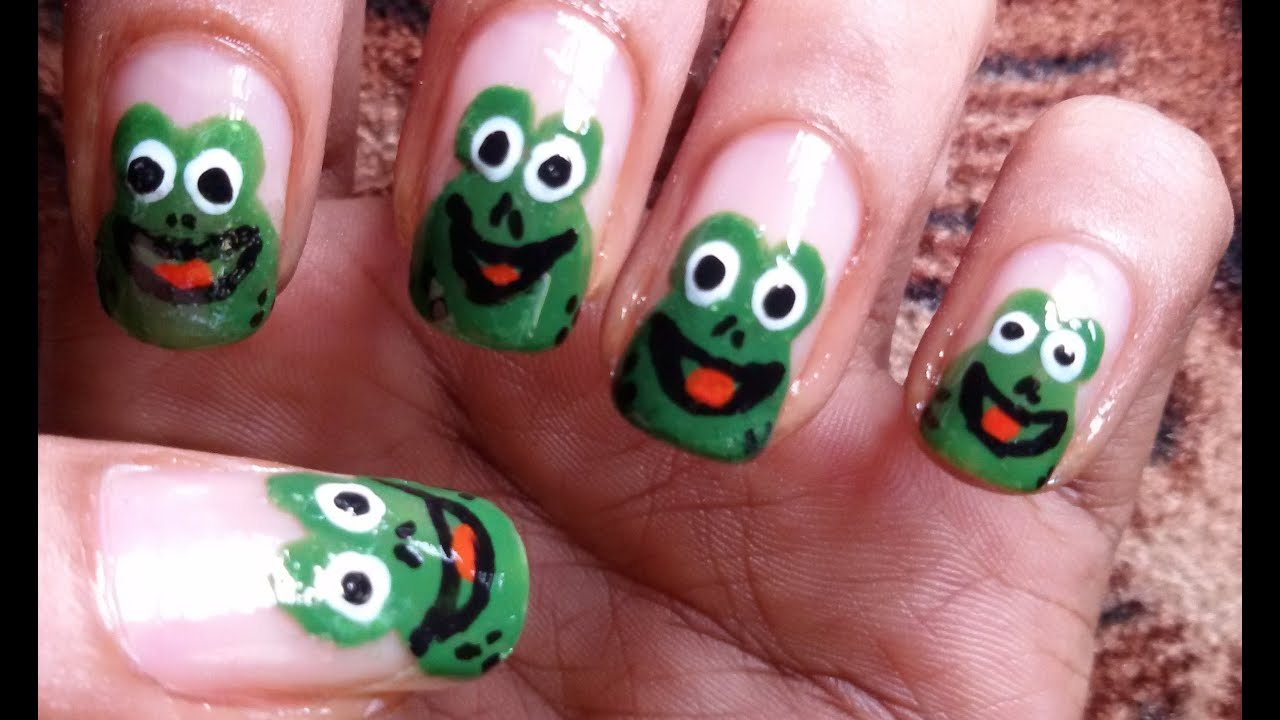 Frog Nail art Design (Rainy Season) - YouTube