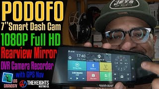 "Podofo 7"" 1080P DVR Dash Cam GPS Nav Built-In WiFi  : LGTV Review"