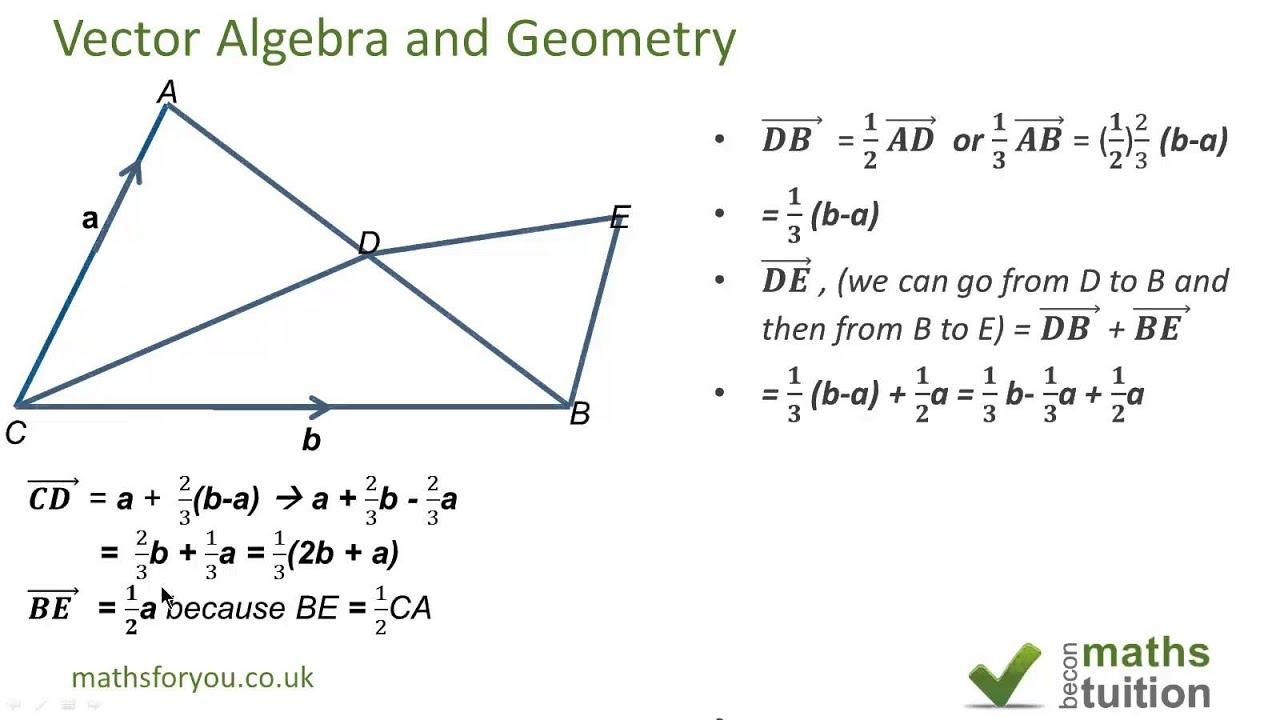 iGCSE Maths Vector algebra & geometry AS level maths revision ...