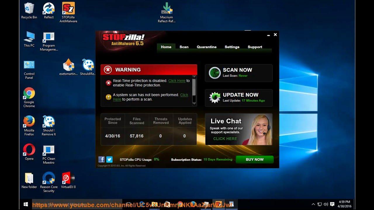 Uninstall STOPzilla AntiMalware 6 5 on Win 10