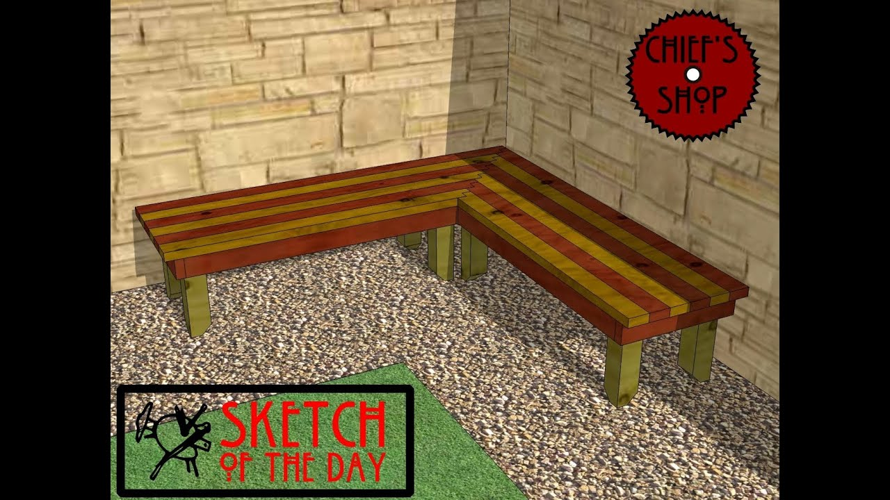 Chiefu0027s Shop Sketch Of The Day: Garden Corner Bench
