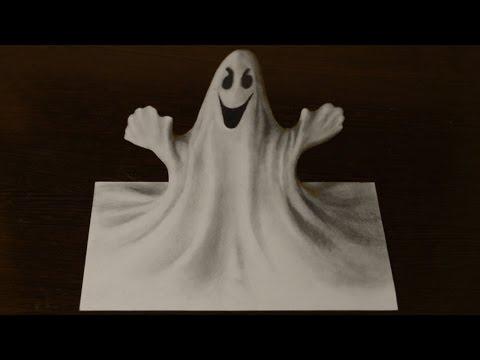 Как нарисовать 3D рисунок ПРИВИДЕНИЕ   3D Ghost 3
