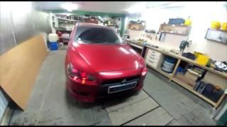 Тюнинг фар Mitsubishi Lancer X установка линз / би ксенон