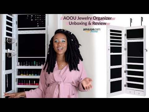 NEW AMAZON JEWELRY ORGANIZER! AOOU Mirrored Jewelry Armoire Review & 50% off Coupon