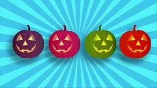 Алина убегает от разноцветных тыкв на море! Alina and color pumpkins.
