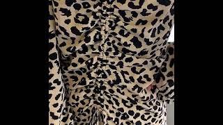 여성 새 봄 레오파드 셔링 섹시 원피스 홀복 클럽의상 …
