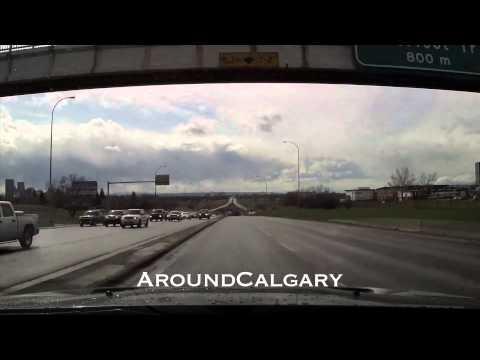 HD Driving Calgary NE Thru Downtown to SW