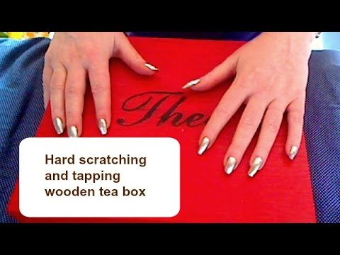ASMR - Hard scratching and fast tapping wooden tea box