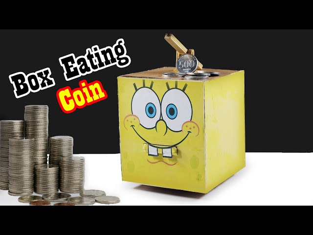 DIY How To Make Spongebob Box Eating Coin | Saving Coin Bank