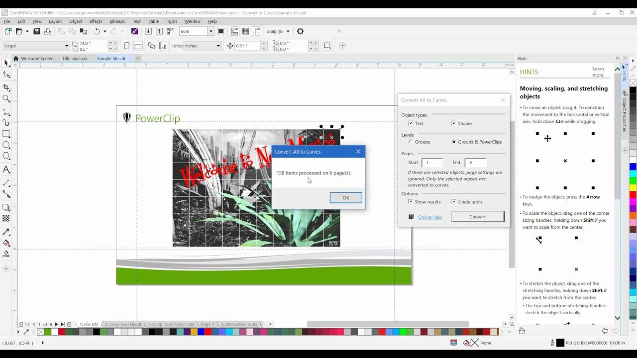 Using the Convert All to Curves Extension for CorelDRAW X8
