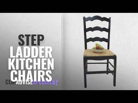 Top 10 Step Ladder Kitchen Chairs [2018]: Ladder Back Chair in Antique Black Finish