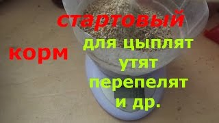 стартовый корм для цыплят,перепелят,утят и др./рецепт