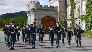Ballater & District Pipe Band display in front of Balmoral Castle in July 2016