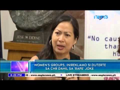 Women's groups file complaint vs Duterte over rape joke