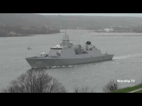 ROYAL NETHERLANDS NAVY HNLMS EVERTSEN F805 LEAVES DEVONPORT NAVAL BASE - 19th March 2017
