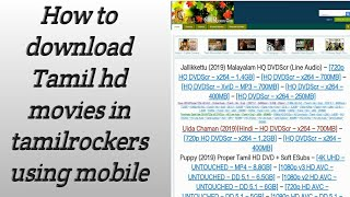 How to download tamil hd movies download tamilrockers  proxy site