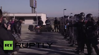 Police pepper spray Ferguson solidarity protesters blocking highway in St. Louis