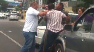 Crazy street fight after car accident!