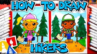 How To Draw A Person Hiking (Backpacking) - #CampYouTube Draw #WithMe