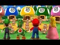 Mario Party 9 Garden Battle - Luigi vs Yoshi vs Mario vs Peach| Cartoons Mee