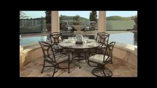 Ow Lee Wrought Madison Dining Set With Porcelain Tile Table | Usaoutdoorfurniture.com