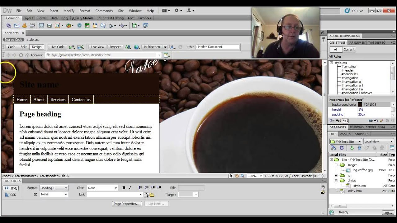 how to add a background in dreamweaver