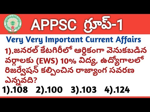 #APPSC Group1 Screening Test 2019 Model Question Paper-3, Important Current Affairs, Group1 Syllabus