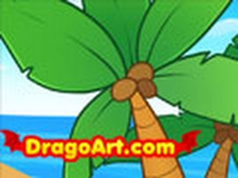 How to draw palm trees, step by step - YouTube