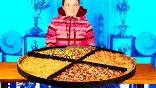 Приготовили огромную метровую пиццу! SUB ENG ,FR, ESP, 中文