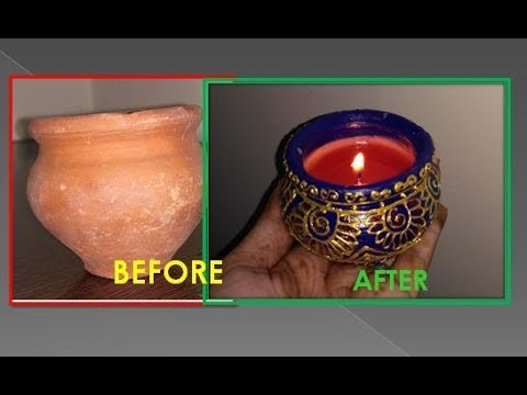 HEENA DESIGN DIYA CANDLE// MAKE DIYA WITH WASTE CANDLES// NEW IDEA