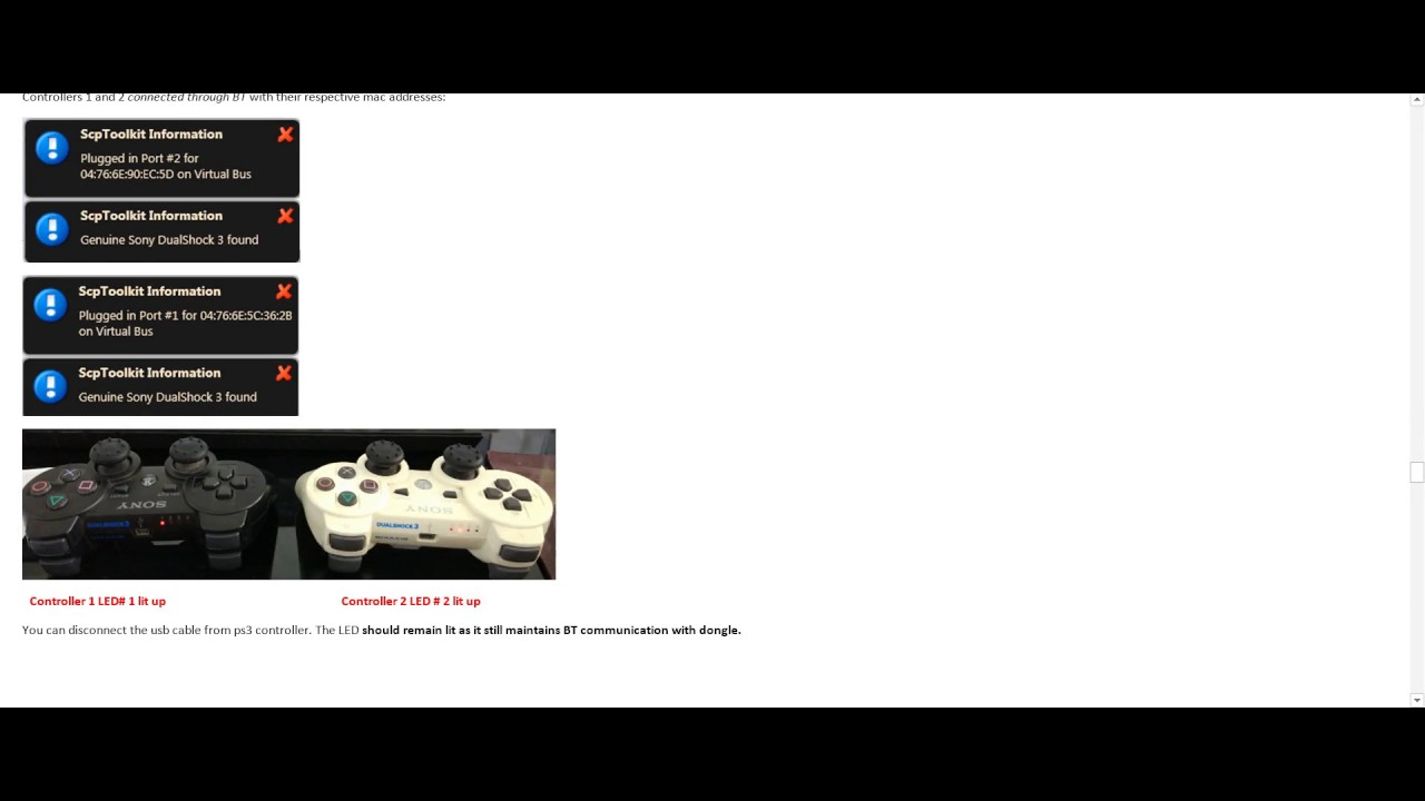 Connect multiple Genuine PS3 wireless controllers to PC using SCPToolkit