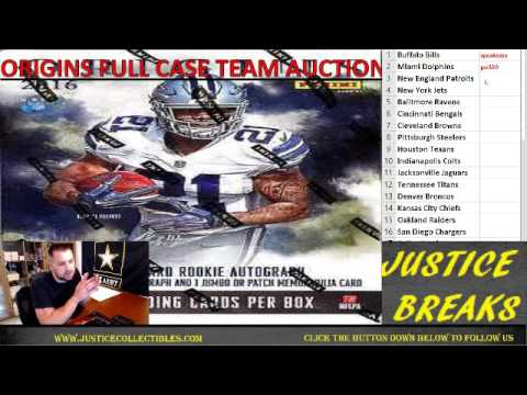2016 Panini Origins Full Case Team Auctions