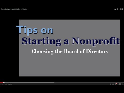 Tips on Starting a Nonprofit: Initial Board of Directors