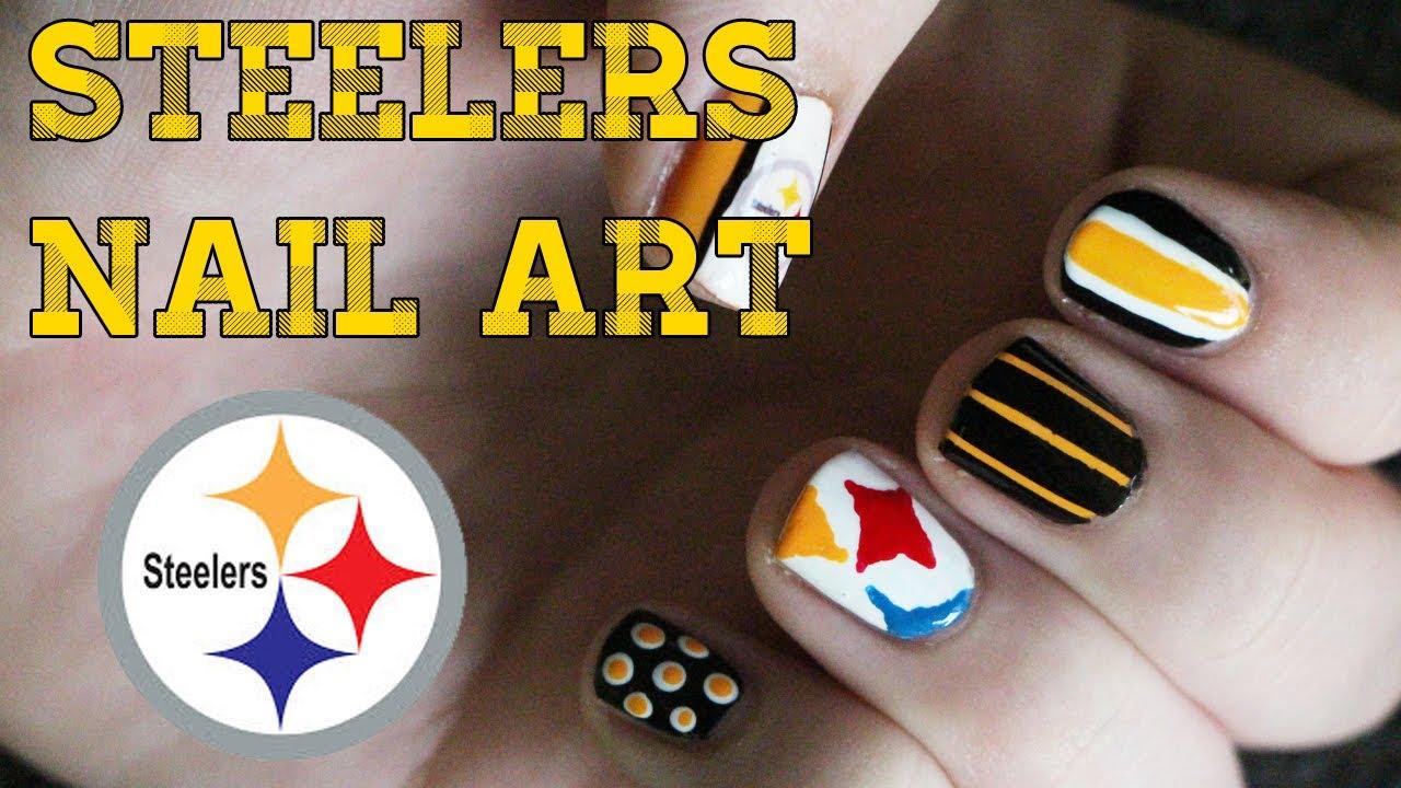 Pittsburgh Steelers Nail Art Tutorial Oliviamakeupchannel Youtube