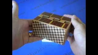The 4 Sun 12 Step M Design Yosegi Japanese Puzzle Box