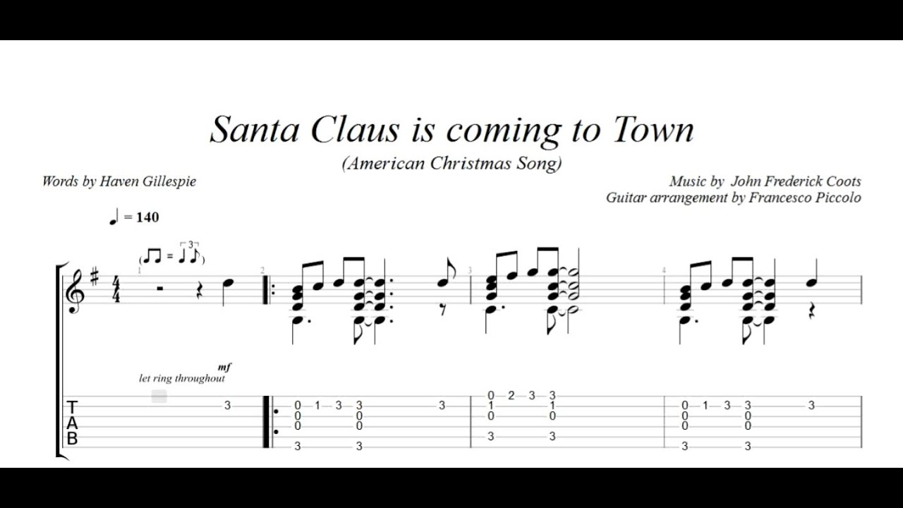 Fingerstyle Guitar Santa Claus Is Coming To Town From Christmas